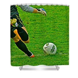 Game Ball Shower Curtain by Laddie Halupa