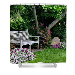 Shower Curtain featuring the photograph Garden Bench by Michelle Joseph-Long