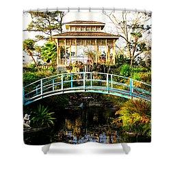 Garden Bridge Shower Curtain by Perry Webster