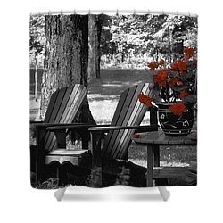 Garden Chairs With Red Flowers In A Pot Shower Curtain by David Chapman