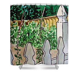 Garden Fence Sketchbook Project Down My Street Shower Curtain by Irina Sztukowski