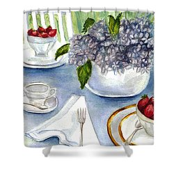 Shower Curtain featuring the painting Garden Tea Party by Clara Sue Beym