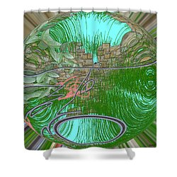 Shower Curtain featuring the digital art Garden Wall by George Pedro