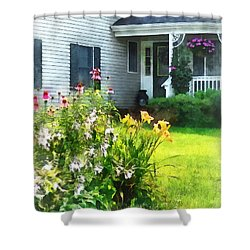 Garden With Coneflowers And Lilies Shower Curtain by Susan Savad