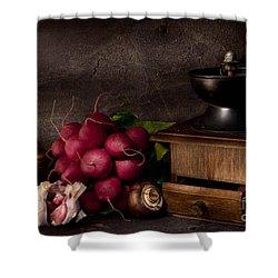 Garlic And Radishes Shower Curtain by Ann Garrett