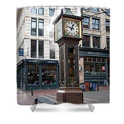 Shower Curtain featuring the digital art Gastown Steam Clock by Carol Ailles