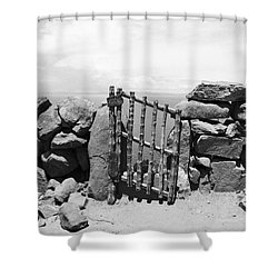 Gate Overlooking Lake Titicaca Shower Curtain by Darcy Michaelchuk