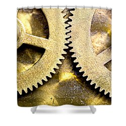 Gears From Inside A Wind-up Clock Shower Curtain by John Short
