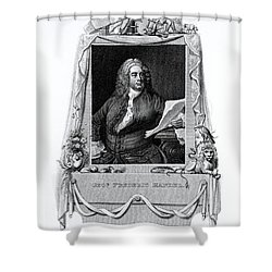 George Frideric Handel, German Baroque Shower Curtain by Omikron
