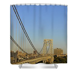 Shower Curtain featuring the photograph George Washington Bridge And Boat by Zawhaus Photography