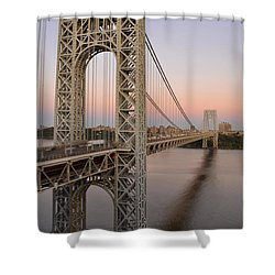 Shower Curtain featuring the photograph George Washington Bridge At Sunset by Zawhaus Photography
