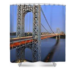 George Washington Bridge At Twilight Shower Curtain