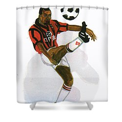 George Weah In Action Shower Curtain by Emmanuel Baliyanga