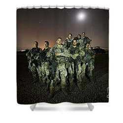 German Army Crew Poses Shower Curtain by Terry Moore