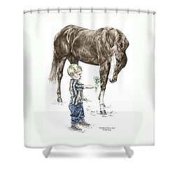 Shower Curtain featuring the drawing Getting To Know You - Boy And Horse Print Color Tinted by Kelli Swan