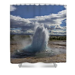 Shower Curtain featuring the photograph Geysir 2 by David Gleeson