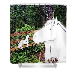 Shower Curtain featuring the drawing Ghost Horse by George Pedro