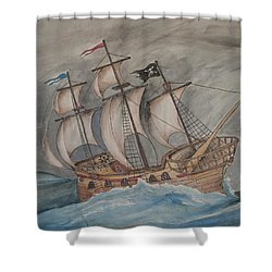 Ghost Pirate Ship Shower Curtain