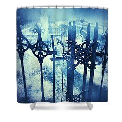 Ghostly Woman In The Cemetery Shower Curtain by Jill Battaglia