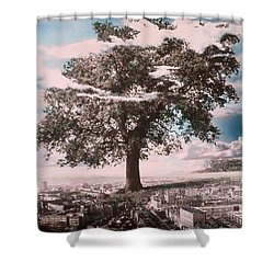 Giant Tree In City Shower Curtain by Hag