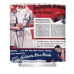 Gillette Razor Ad, 1939 Shower Curtain by Granger