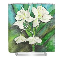 Shower Curtain featuring the painting Ginger Lilies by Carla Parris