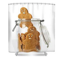 Gingerbread Men Escape Shower Curtain by Amanda Elwell