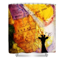 Giraffe Silhouette With Map Background Shower Curtain by Chris Knorr