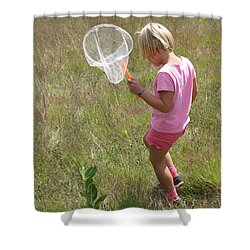 Girl Collecting Insects In A Meadow Shower Curtain by Ted Kinsman