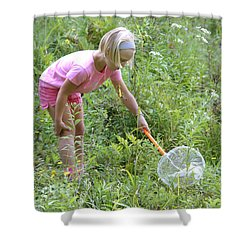 Girl Collects Insects In A Meadow Shower Curtain by Ted Kinsman