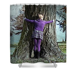 Girl Hugging Tree Trunk Shower Curtain by Joana Kruse