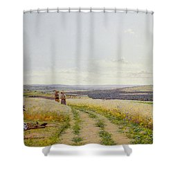 Girl In The Fields   Shower Curtain by Jean F Monchablon