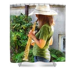 Girl Playing Saxophone Shower Curtain by Susan Savad