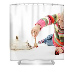 Girl Playing With Cat Shower Curtain by Mark Taylor