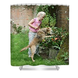Girl Playing With Dog Shower Curtain by Mark Taylor