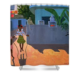 Girl Skipping Shower Curtain by Andrew Macara