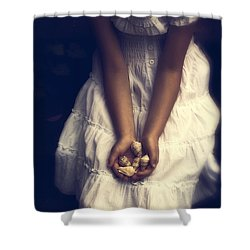 Girl With Sea Shells Shower Curtain by Joana Kruse