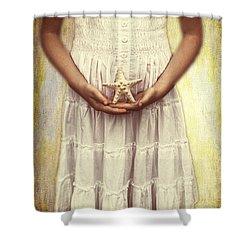 Girl With Starfish Shower Curtain by Joana Kruse