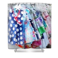 Girl's Dresses At Street Fair Shower Curtain by Susan Savad