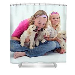 Girls With Puppies Shower Curtain by Jane Burton