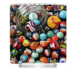 Glass Jar And Marbles Shower Curtain by Garry Gay