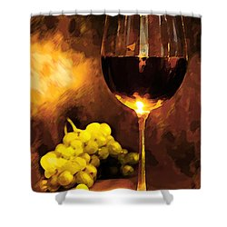Glass Of Wine And Green Grapes By Candlelight Shower Curtain by Elaine Plesser