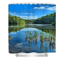 Glassy Waters Shower Curtain by Adam Jewell