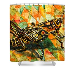 Glorious Grasshopper Shower Curtain by Miriam  Schulman