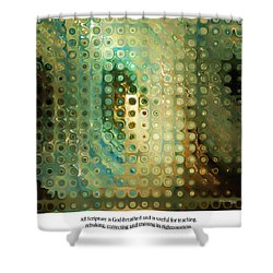 God-breathed. Christian Poster Shower Curtain by Mark Lawrence