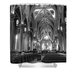 God Do You Hear Me Black And White Shower Curtain by Ken Smith
