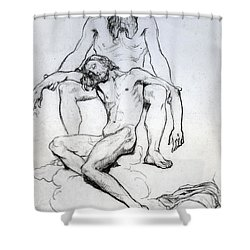 God The Father And God The Son Shower Curtain by Henri Lehmann