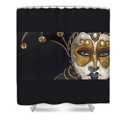 Gold Carnival Mask Shower Curtain by Patty Vicknair