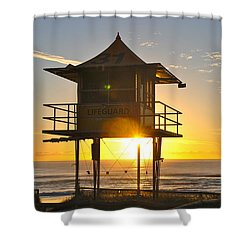 Shower Curtain featuring the photograph Gold Coast Life Guard Tower by Eric Tressler