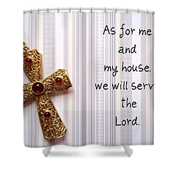 Gold Cross Shower Curtain by Cynthia Amaral